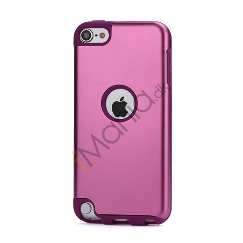 Blankt aluminum Kombineret Silikone Hard Back Case til iPod Touch 5 - Light Purple