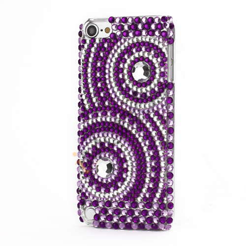 Glitter Case Lilla og Crystal Circles Hard Back til iPod Touch 5