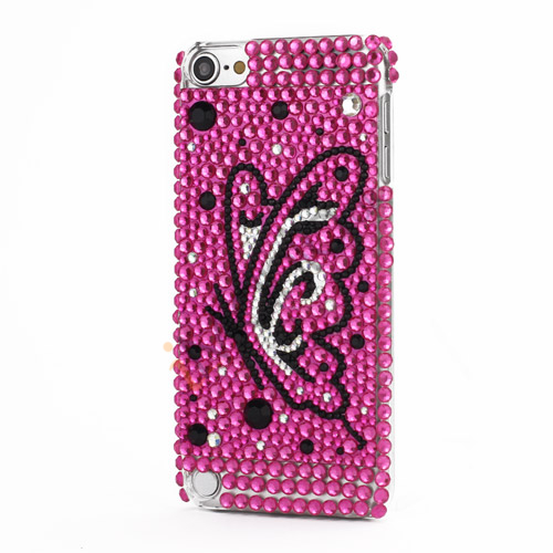 Bling iPod Touch 5 Luksus 3D Swarovski Krystal Diamant Sommerfugl Rose Case Cover