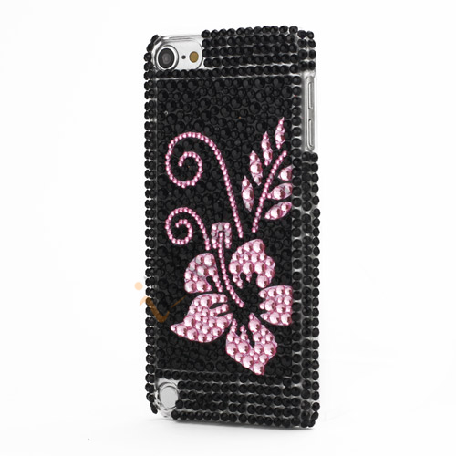 iPod Touch 5 Intuition Blomster Design Krystal Smykkesten Hard Case Snap On Cover