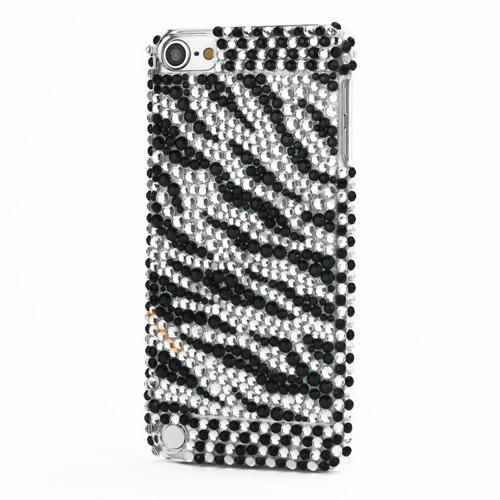Zebra Sorte og Hvide Striber Diamant Smykkesten Krystal Bling Case til iPod Touch 5
