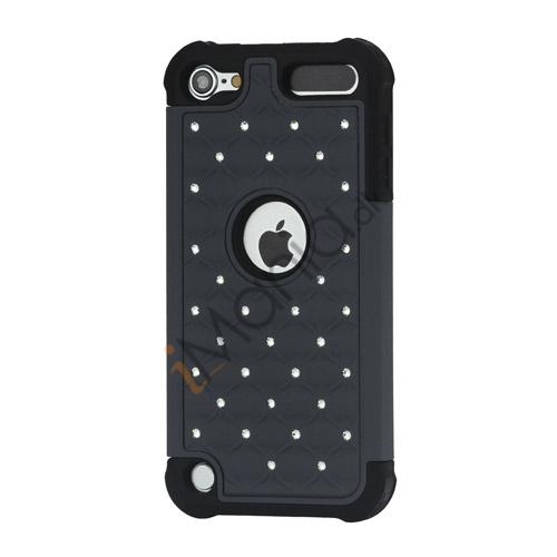 Skinnende Diamant Hard Cover med Soft Silicone Core Hybrid Shell Case til iPod Touch 5 - Sort / Grå
