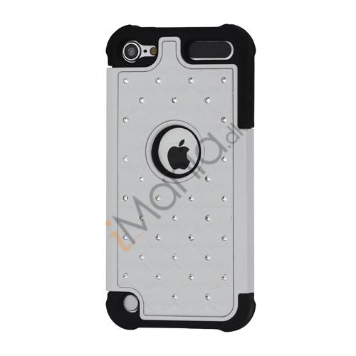 Skinnende Diamant Hard Cover med Soft Silicone Core Hybrid Shell Case til iPod Touch 5 - Sort / Hvid
