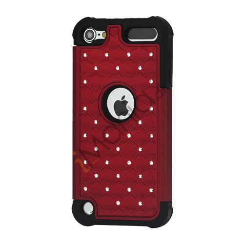 Skinnende Diamant Hard Cover med Soft Silicone Core Hybrid Shell Case til iPod Touch 5 - Sort / Rød