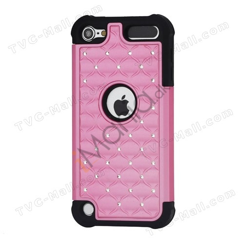 Skinnende Diamant Hard Cover med Soft Silicone Core Hybrid Shell Case til iPod Touch 5 - Sort / Pink