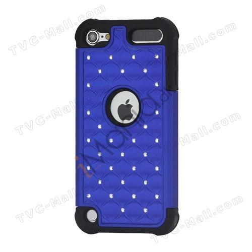 Skinnende Diamant Hard Cover med Soft Silicone Core Hybrid Shell Case til iPod Touch 5 - Sort / Blå