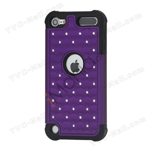 Skinnende Diamant Hard Cover med Soft Silicone Core Hybrid Shell Case til iPod Touch 5 - Sort / Lilla