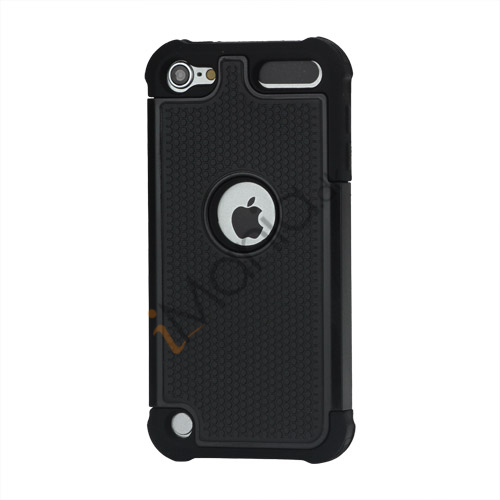 Image of   Fodbold Grain Combo Silikone og plast Hard Defender Case til iPod Touch 5 - Sort