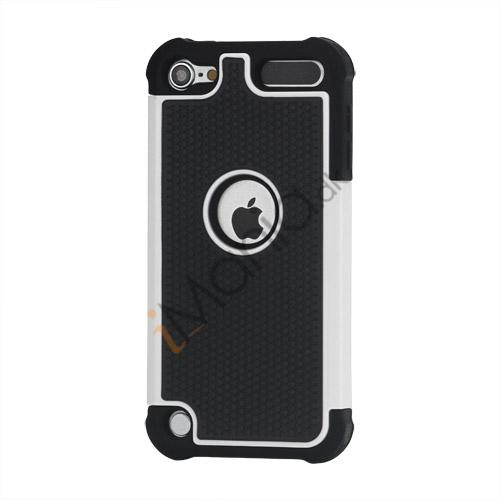 Image of   Fodbold Grain Combo Silikone og plast Hard Defender Case til iPod Touch 5 - Sort / Hvid