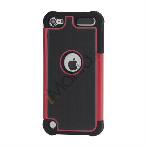 Image of   Fodbold Grain Combo Silikone og plast Hard Defender Case til iPod Touch 5 - Sort / Rød