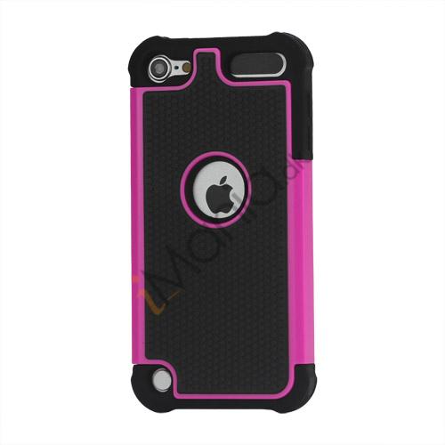 Image of   Fodbold Grain Combo Silikone og plast Hard Defender Case til iPod Touch 5 - Sort / Rose