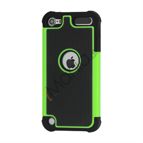 Image of   Fodbold Grain Combo Silikone og plast Hard Defender Case til iPod Touch 5 - Sort / Grøn