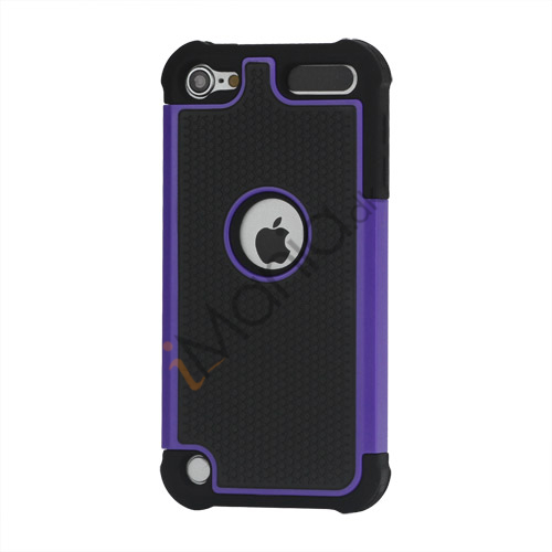 Image of   Fodbold Grain Combo Silikone og plast Hard Defender Case til iPod Touch 5 - Sort / Lilla