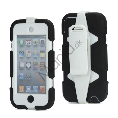 Image of   Ekstremt holdbart Hybrid Hard Case til iPod Touch 5 med Belt Clip - Hvid / Sort