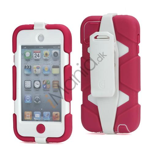 Ekstremt holdbart Hybrid Hard Case til iPod Touch 5 med bælteclip - Hvid / Rose