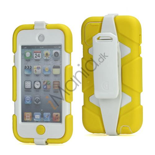 Ekstremt holdbart Hybrid Hard Case til iPod Touch 5 med bælteclip - Hvid / Gul