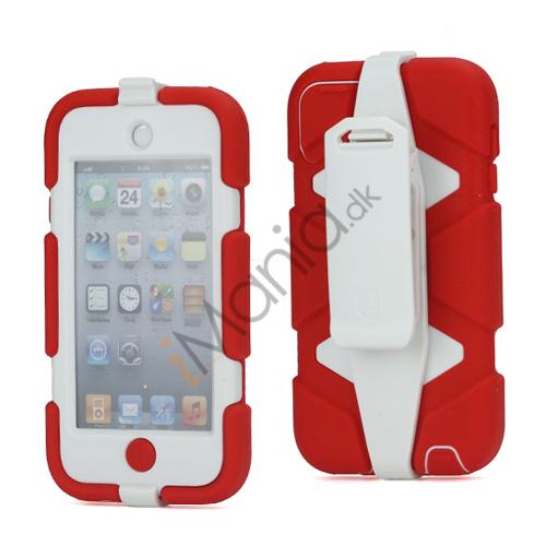 Ekstremt holdbart Hybrid Hard Case til iPod Touch 5 med Belt Clip - Hvid / Rød