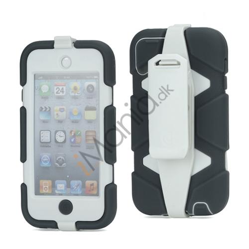 Ekstremt holdbart Hybrid Hard Case til iPod Touch 5 med bælteclip - Hvid / Mørk Grå