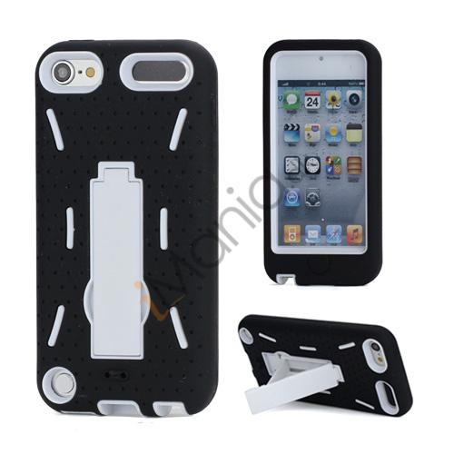 Rugged Robot Style Plastic  and  Silikone Combo Taske med Holder til iPod Touch 5 - Hvid Indvendig / Sort Ydre