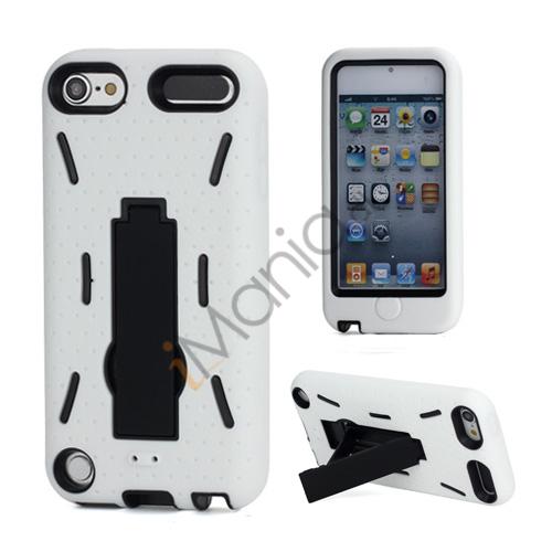 Rugged Robot Style Plastic  and  Silikone Combo Taske med Holder til iPod Touch 5 - Sort Indvendig / Hvid Ydre