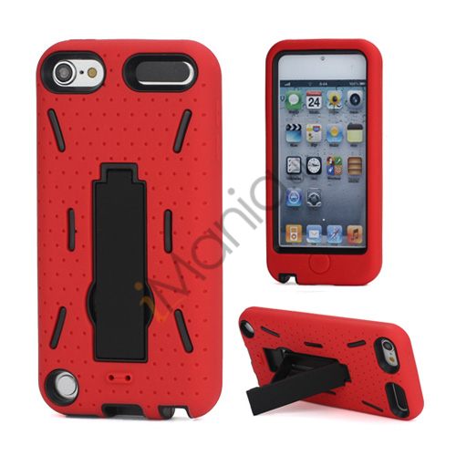 Rugged Robot Style Plastic  and  Silikone Combo Taske med Holder til iPod Touch 5 - Sort / Rød