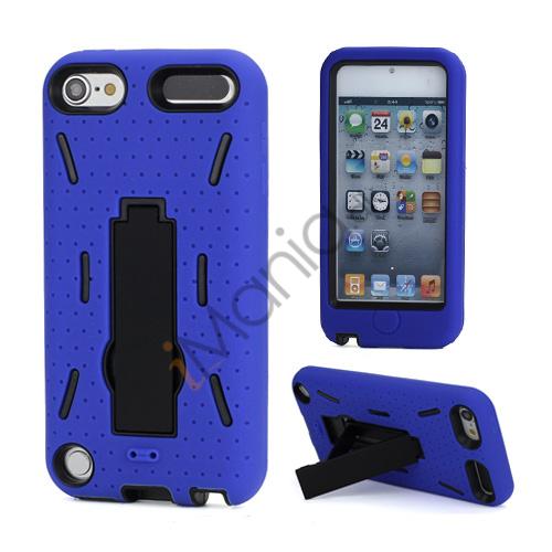 Rugged Robot Style Plastic  and  Silikone Combo Taske med Holder til iPod Touch 5 - Sort / Blå