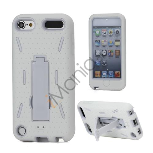 Rugged Robot Style Plastic  and  Silikone Combo Taske med Holder til iPod Touch 5 - Hvid
