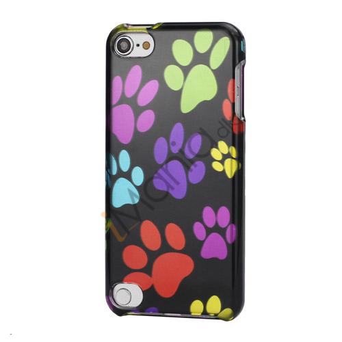Fodspor Design 2 i 1 Snap-On Hard Back Shell Case til iPod Touch 5 - Sort / Colorful