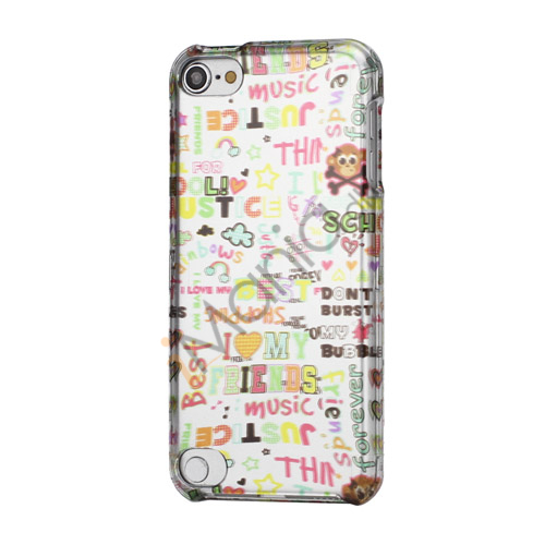 Image of   Farverigt I Love Music Snap-On Hard Shell Back Case til iPod Touch 5