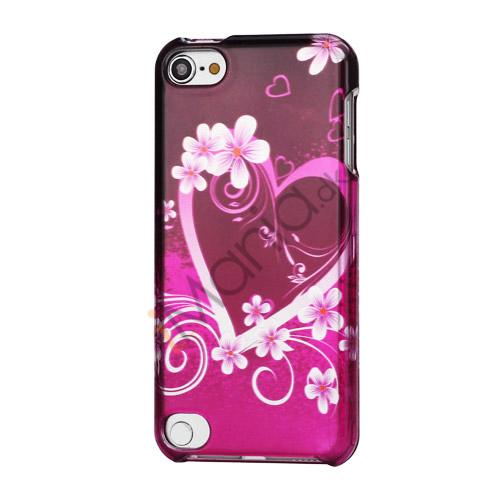 Hjerte-og blomstermønster Combo Snap-On Hard Case Shell til iPod Touch 5