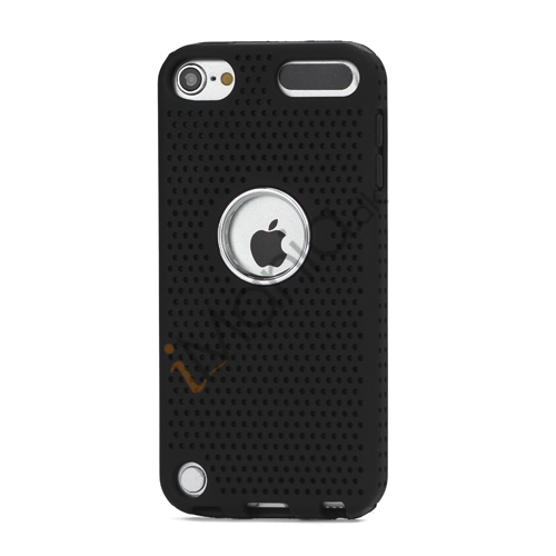 Perforeret PC  and  TPU Hybrid Flerlags Hard Back Case til iPod Touch 5 - Sort