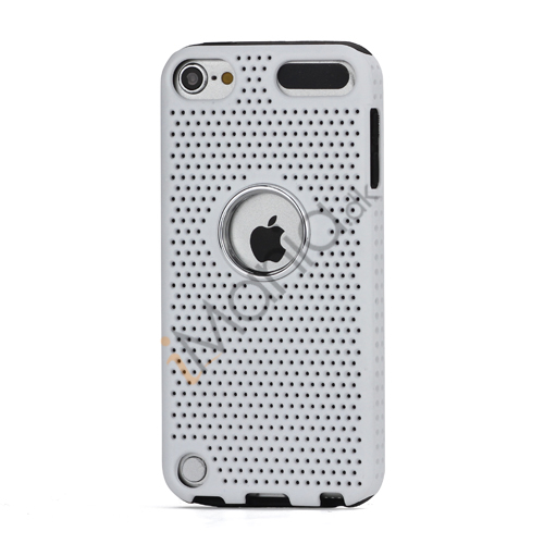 Perforeret PC  and  TPU Hybrid Flerlags Hard Back Case til iPod Touch 5 - Sort / Hvid