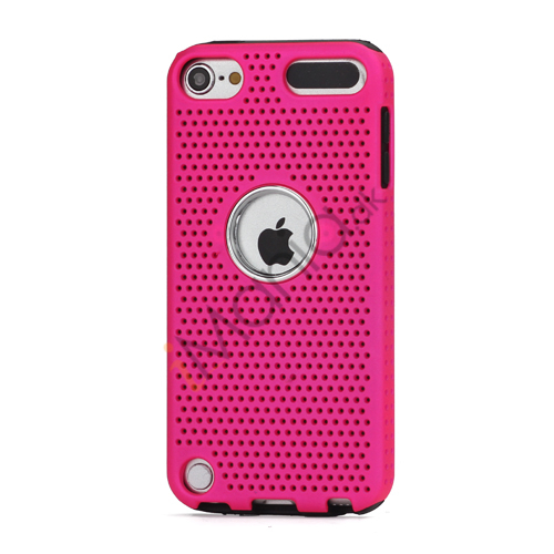 Perforeret PC  and  TPU Hybrid Flerlags Hard Back Case til iPod Touch 5 - Sort / Rose