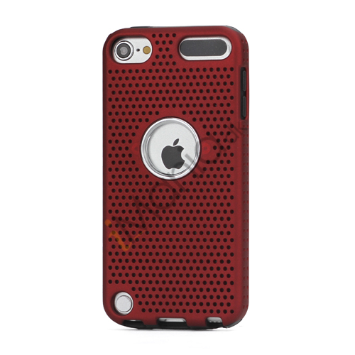 Perforeret PC  and  TPU Hybrid Flerlags Hard Back Case til iPod Touch 5 - Sort / Rød