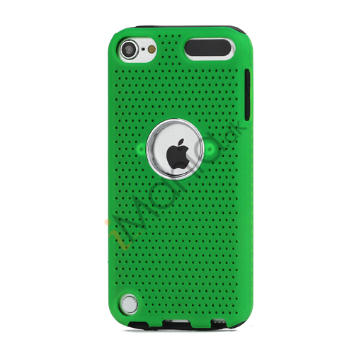 Perforeret PC  and  TPU Hybrid Flerlags Hard Back Case til iPod Touch 5 - Sort / Grøn
