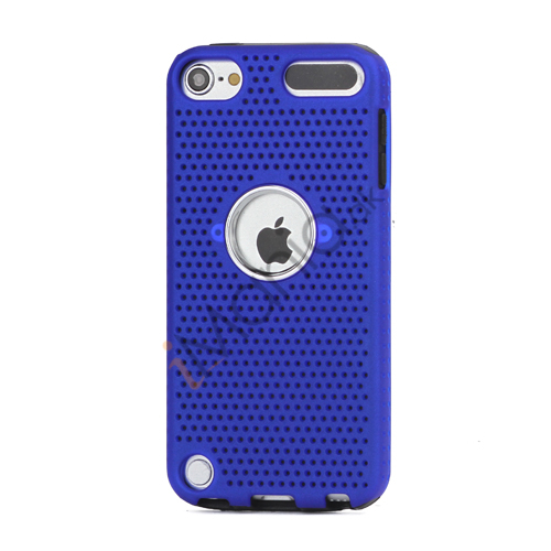 Perforeret PC  and  TPU Hybrid Flerlags Hard Back Case til iPod Touch 5 - Sort / Blå
