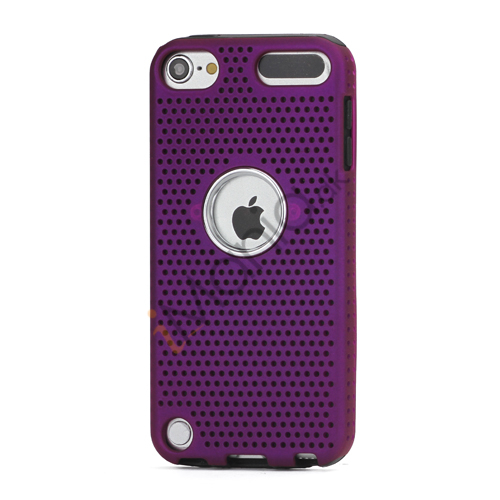 Perforeret PC  and  TPU Hybrid Flerlags Hard Back Case til iPod Touch 5 - Sort / Lilla