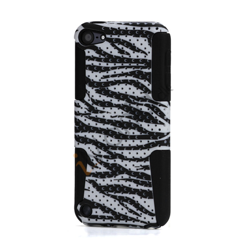 Zebra Gitter 2 i 1 Plastic  and  Silicone Hybrid Hard Case til iPod Touch 5 - Hvid