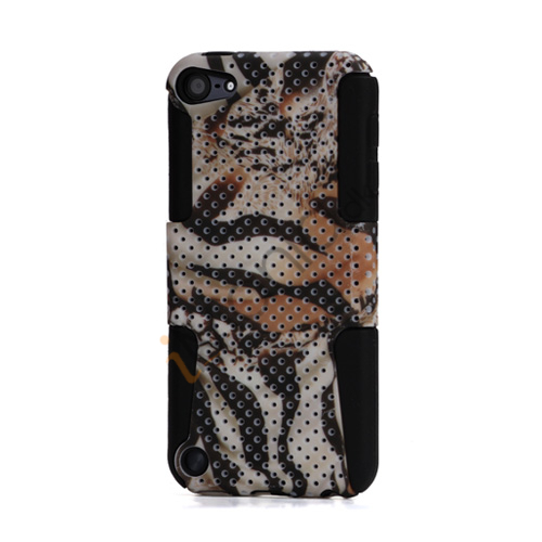 Tiger Grain 2 i 1 Plastic Over Silicone Hybrid Hard Gitter Case til iPod Touch 5