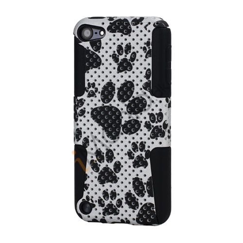 Fodspor Combo Plastic  and  Silicone Hybrid Hard Cover Case til iPod Touch 5