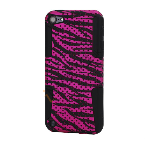 Zebra Plastic  and  Silicone Gitter Hybrid Hard Case til iPod Touch 5 - Rose