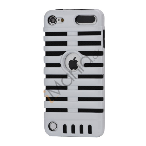 Klassisk mikrofon PC  and  Silikone Hybrid Hard Case til iPod Touch 5 - Sort / Hvid