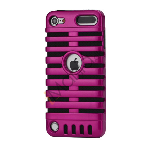 Klassisk mikrofon PC  and  Silikone Hybrid Hard Case til iPod Touch 5 - Sort / Rose