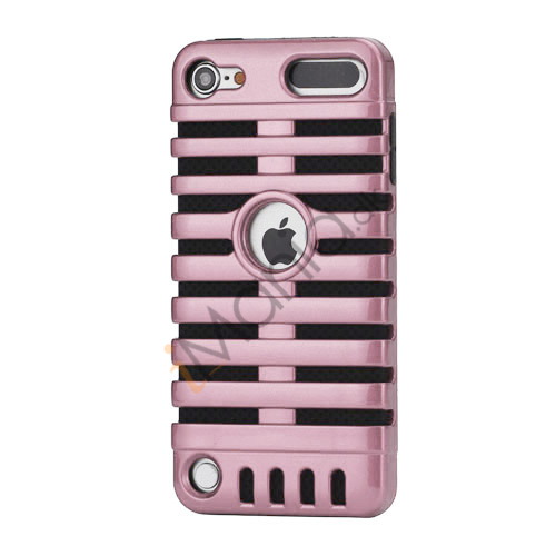Klassisk mikrofon PC  and  Silikone Hybrid Hard Case til iPod Touch 5 - Sort / Pink