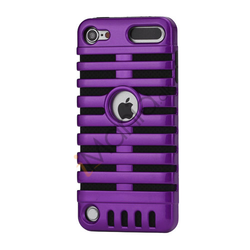 Klassisk mikrofon PC  and  Silikone Hybrid Hard Case til iPod Touch 5 - Sort / Lilla