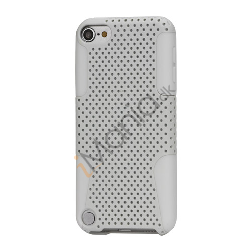 Perforeret Ventileret Plastic  and  Silikone Hybrid Taske til iPod Touch 5 - Hvid