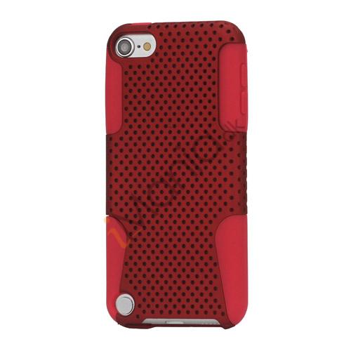 Perforeret Ventileret Plastic  and  Silikone Hybrid Taske til iPod Touch 5 - Rød