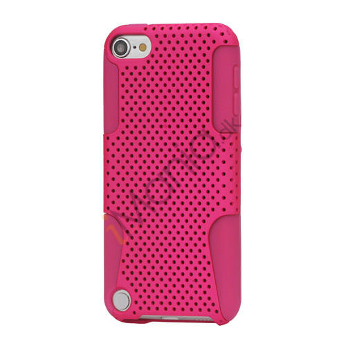 Perforeret Ventileret Plastic  and  Silikone Hybrid Taske til iPod Touch 5 - Rose