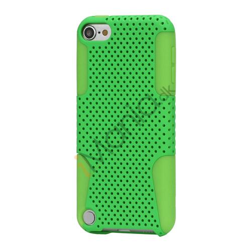 Perforeret Ventileret Plastic  and  Silikone Hybrid Taske til iPod Touch 5 - Grøn