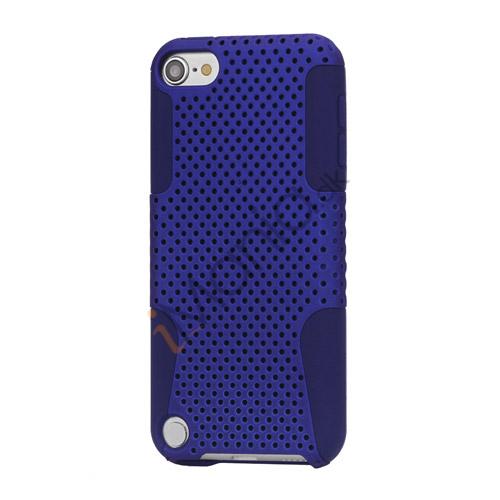 Perforeret Ventileret Plastic  and  Silikone Hybrid Taske til iPod Touch 5 - Blå